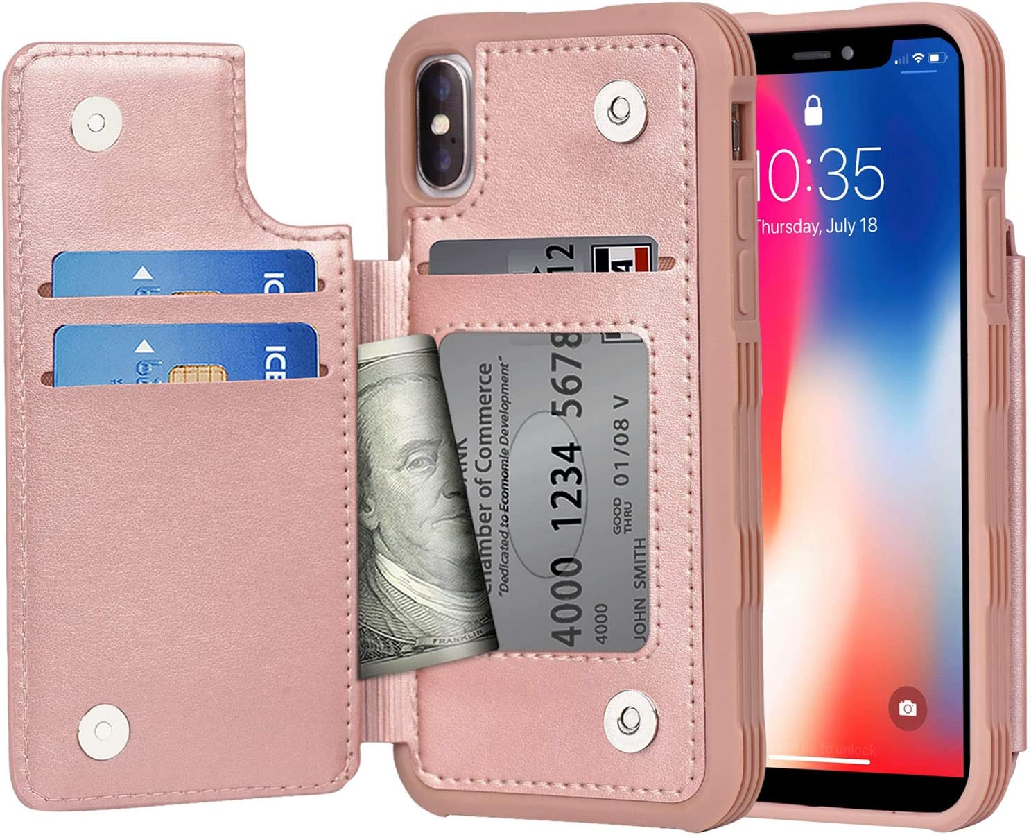 Arae Case for iPhone X/iPhone Xs - Wallet Case with PU Leather Card Pockets [Shockproof] Back Flip Cover for iPhone X/Xs 5.8 inch (Rosegold)