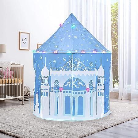 Eve Stone キッズテント 雪の城 折りたたみ LEDライト付き 室内 屋外 収納バッグ付き 子供用テント キャンプセット 秘密基地 こども用 窓付き 簡単に組立 誕生日 クリスマス プレゼント ES11