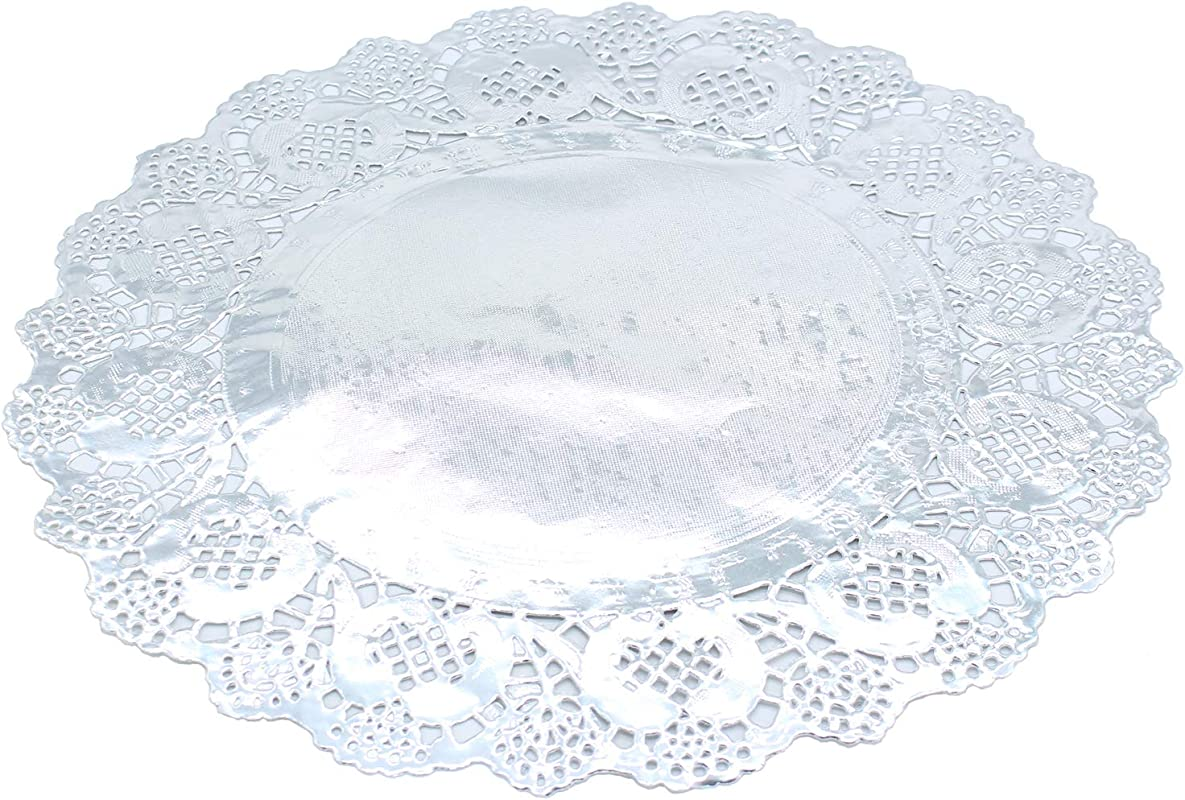 Paper Doily Lace Round Doilies Silver Foil Doilies For Cakes Desserts Ideal For Weddings Tableware Decoration Paper Lace Placemats 100 Pcs 12 Inch