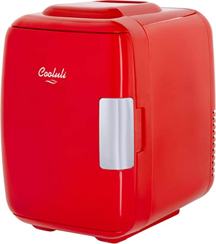 Cooluli Classic Red 4 Liter Compact Cooler Warmer Mini Fridge with AC/DC/USB Power - Great for Bedroom, Office, Car, ...