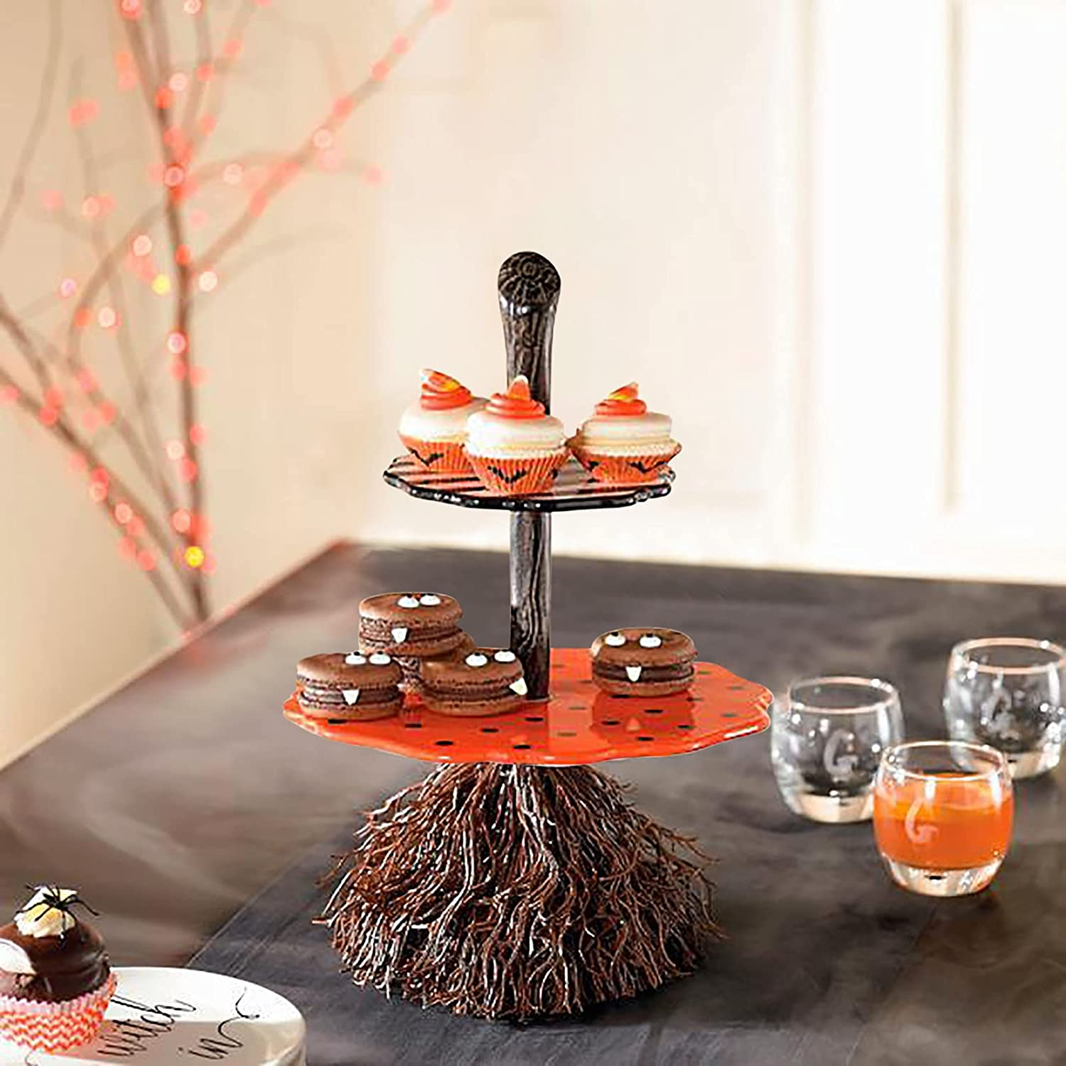 Halloween unisex Home Kitchen Decoration Snack Bowl Stand 3- Max 68% OFF Broomstick