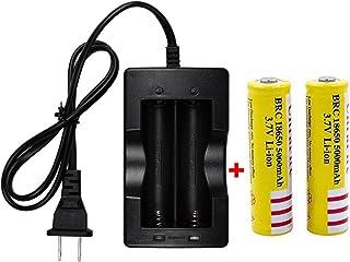 2本18650充電池3.7 V 5000 mAhと高速充電器、該当18650バッテリーはミニUSB扇風機、超強力LEDヘッドライト、ミニLED懐中電灯、自転車ライト、電子タバコに適用します