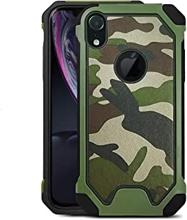 2-in-1 Case for iPhone XR Cellphone, Rugged Dual Layer Shell Shockproof TPU Case Camouflage PU Leather Rubber Protective Cover for Apple iPhone XR 6.1