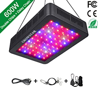600W LED Grow Light, Growstar Double Chips LED Grow Lamp Full Spectrum for Hydroponic Indoor Plants Veg and Flower with UV IR Daisy Chain (12-Band)