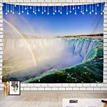 Batmerry Landscape Tapestry, Niagara Falls Picnic Mat Beach Towel Wall Art Decoration for Bedroom Living Room Dorm, 51.2 x 59.1 Inches, Rainbow