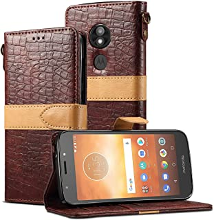 Moto E5 Play Case,Moto E5 Cruise Case,CH-IC Handmade[Wrist Strap] Flip Folio Leather Wallet Cover[Durable Soft TPU Inner Case]with Card Holder Slots, Kickstand, Magnetic Clousure,Cash Pockets (Coffee)