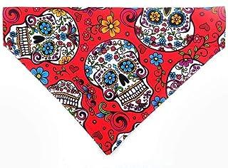 Sugar Skull Calavera Day of the Dead Cinco de Mayo Dog Bandana, Reversible Over the Collar Slip Thru Thread Through Neckwear Petwear