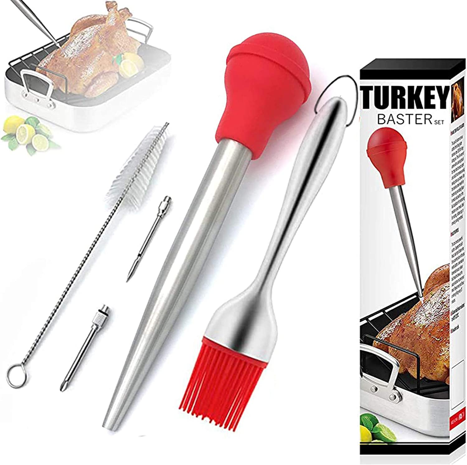 Turkey Baster High material Stainless Steel shop Meat Brus with Oil Syringe