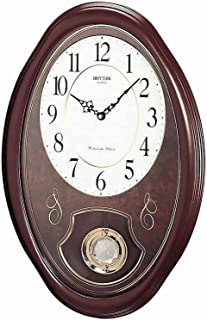 Rhythm Cmj320Nr06 Wooden Wall Clock Chime, Brown
