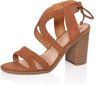 AIIT Women's Fashion Chunky Mid Heel Sandal Pump Shoe
