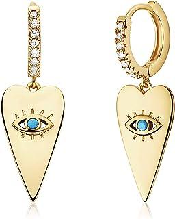 Mevecco Blue Evil Eye Huggie Hoop Earring,14K Gold Plated Cubic Zirconia White Solitire CZ Hoop Earrings for Women