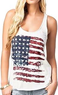 UNIQUEONE Fashion Women Patriotic American Flag Print Sleeeveless T-Shirt Casual Tank Top