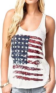 Fashion Women Patriotic American Flag Print Sleeeveless T-Shirt Casual Tank Top