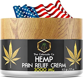 Hemp Cream   The Colorado CO   3000Mg   Natural Hemp Pain Relief Cream for Inflammation, Muscle, Joint, Back, Knee & Arthritis Pain - Hemp Salve Contains Arnica, MSM - Non-GMO (50)