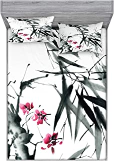 Ambesonne Japanese Bedding Set with Sheet & Covers, Natural Bamboo Stems Cherry Blossom Japanese Inspired Folk Print, Printed Bedroom Decor 2 Shams, Queen, Green Fuchsia