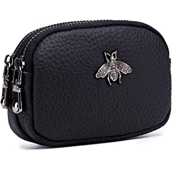 imeetu Women Leather Coin Purse, Small 2 Zippered Change Pouch Wallet
