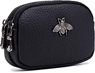 imeetu Coin Pouch Leather Change Purse, 2-Zippered Small Wallet(Black)