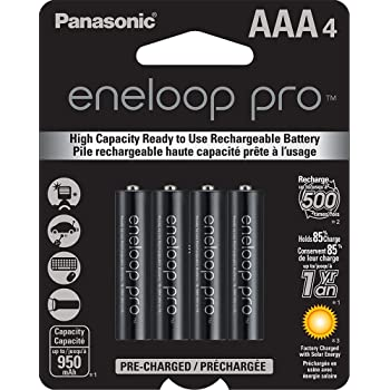 Panasonic eneloop pro Nuevas baterías recargables de níquel-metal hidruro, AAA4 , precargadas, de alta capacidad