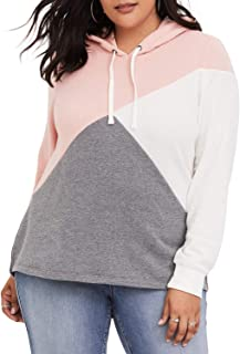 44e1be483af4a0 Eytino Women Plus Size Hooded Sweatshirt Striped Long Sleeve Colorblock  Drawstring Hoodie Pullover XL-5XL