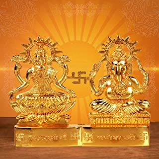 CRAFTSMAN Crafts'man 4 inch Hindu God Lakshmi Ganesha Metal Figurine Statue Idol murti Set for Home Indian Diwali Festival Pooja puja Decor.Indian Gift Items