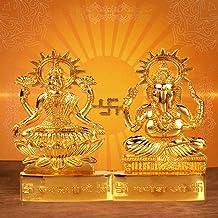 Craftsman 4 inch Hindu God Lakshmi Ganesha Metal Figurine Statue Idol murti Set for Home Indian Diwali Festival Pooja puja...