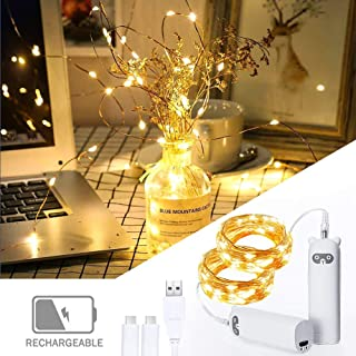 Rechargeable LED Fairy String Lights for Bedroom, 6.6ft 20LEDs Room String Lights, LED Rope Lights Indoor (2 Pack, Warm Yellow)