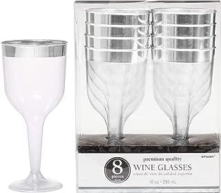 Premium Plastic Wine Glasses   Clear w/ Silver   10 oz.  8 ct.   Party Supply