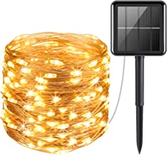 AMIR Solar Powered String Lights, 100 LED Copper Wire Lights, Starry Lights, Fairy Lights, Indoor/Outdoor Waterproof Solar Decoration Lights for Gardens, Home, Dancing, Party, Christmas (Warm White)