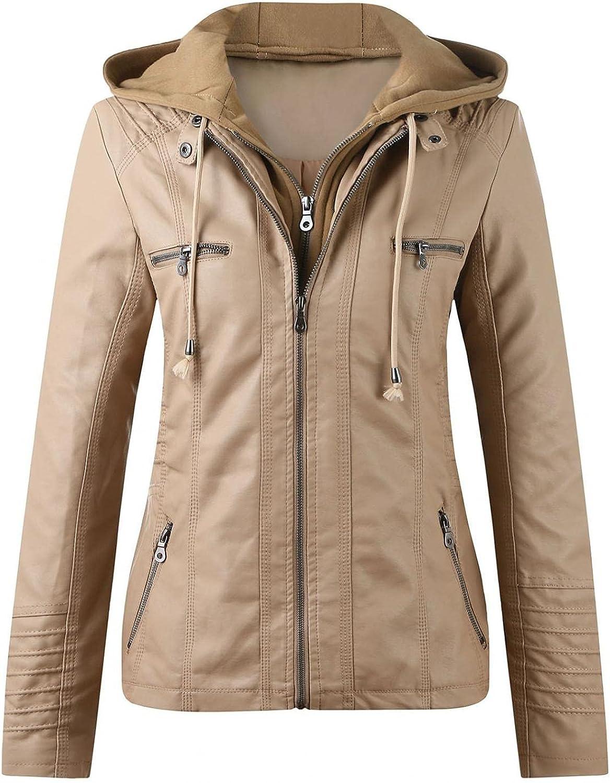 Women's Fleece Lined Coat,Womens Slim Trench Leather Stand Collar Zip Motorcycle Suit Belt Outwear Jacket Windbreaker
