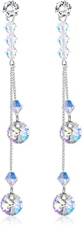 Sllaiss Colorful Aurora Linear Drop Earrings Made with Swarovski Crystal Dangle Earrings for Women Birthday Gifts