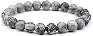 Jade cabbage Men Bracelets Natural Stone Healing Energy Balance Beads (8mm) Gray Stretch