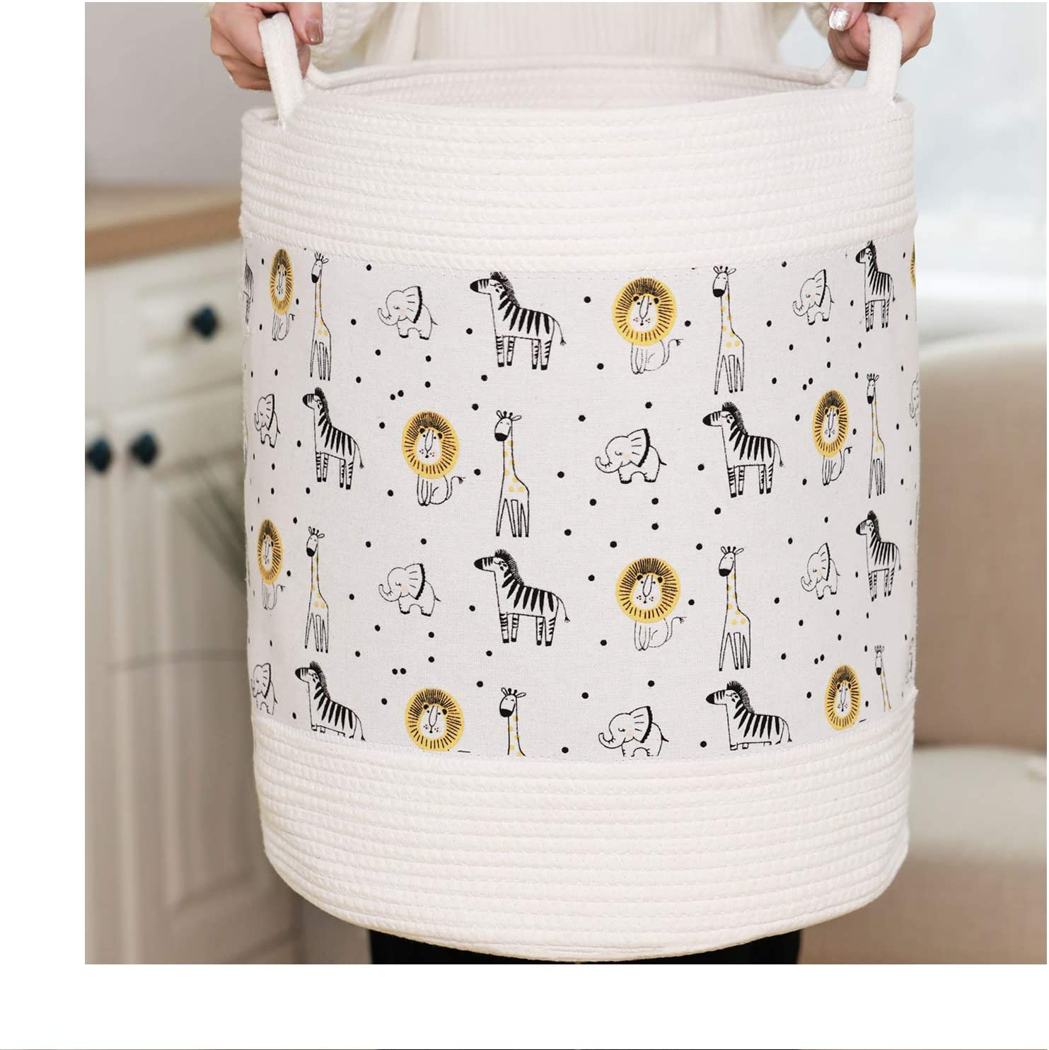 Loelurn Baby Laundry Baskets High order of Cotton Rope Super beauty product restock quality top with Linen A and Zoo