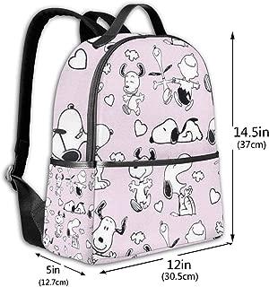 Classic School Backpack Happy Snoopy Unisex College Schoolbag Travel Bookbag Black