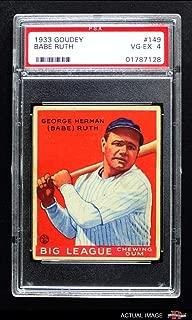 1933 Goudey # 149 Babe Ruth New York Yankees (Baseball Card) PSA 4 - VG/EX Yankees