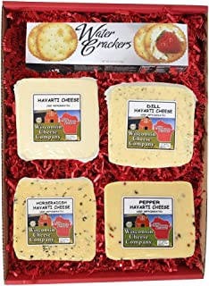 WISCONSIN CHEESE COMPANY'S -100% Wisconsin Cheese Big Classic Havarti Specialty Cheese & Cracker Gift Box. A Snack or Food...