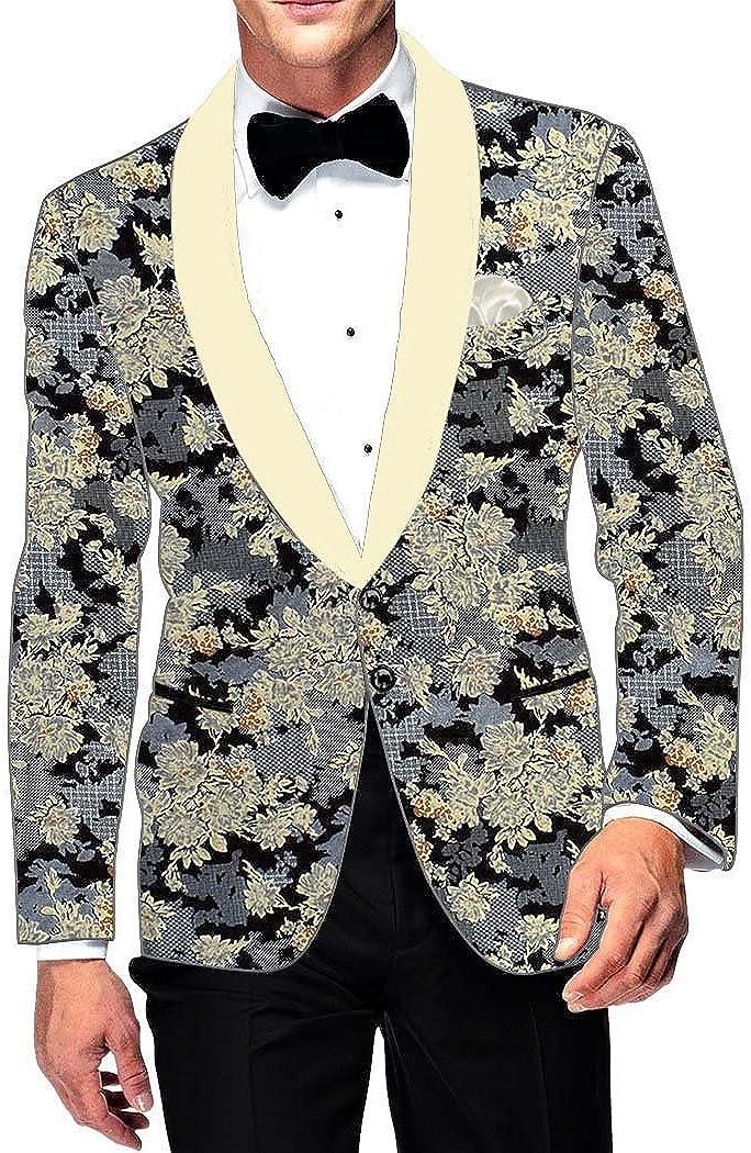 INMONARCH Mens Slim fit Casual Gray Cotton Blazer Sport Jacket Coat Floral Printed SB15981