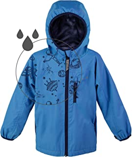 Boys Rain Jacket, Lightweight Raincoat with Magic Pattern - Breathable Mesh Lined - Blue Red - Toddler Kids Youth