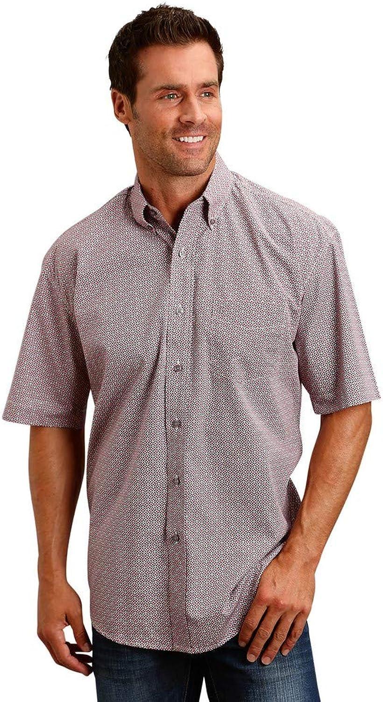 Stetson Apparel Mens WSL Red Print S S Button Shirt