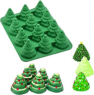 3D Christmas Tree Silicone Mold - MoldFun Xmas Tree Pan Silicone Mold for Mousse Cake Muffin Baking, Ice Cube, Jello, Chocolate, Soap, Lotion Bar, Bath Bomb, Candle (Random Color)