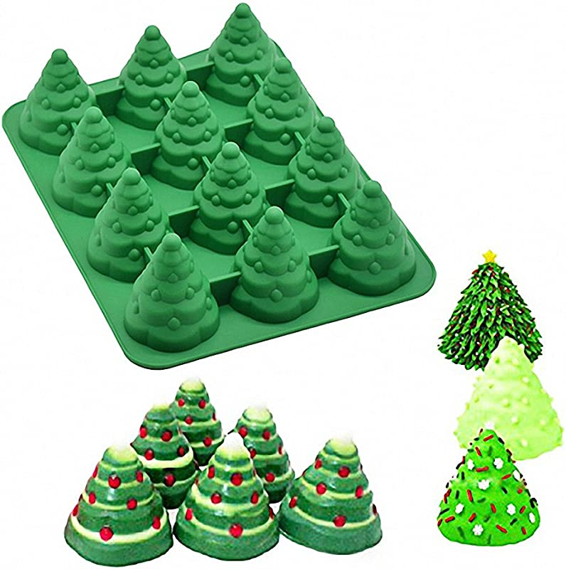 3D Christmas Tree Silicone Mold MoldFun Xmas Tree Pan Silicone Mold For Mousse Cake Muffin Baking Ice Cube Jello Chocolate Soap Lotion Bar Bath Bomb Candle Random Color
