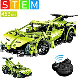 PETRIP STEM RC Car Building Kit, Model Cars Kits to Build for Kids Adults Collectible Display, 453pc Stem Building Toys with Remote Control & USB Rechargeable, Best Birthday Gift for Kids 6-10+