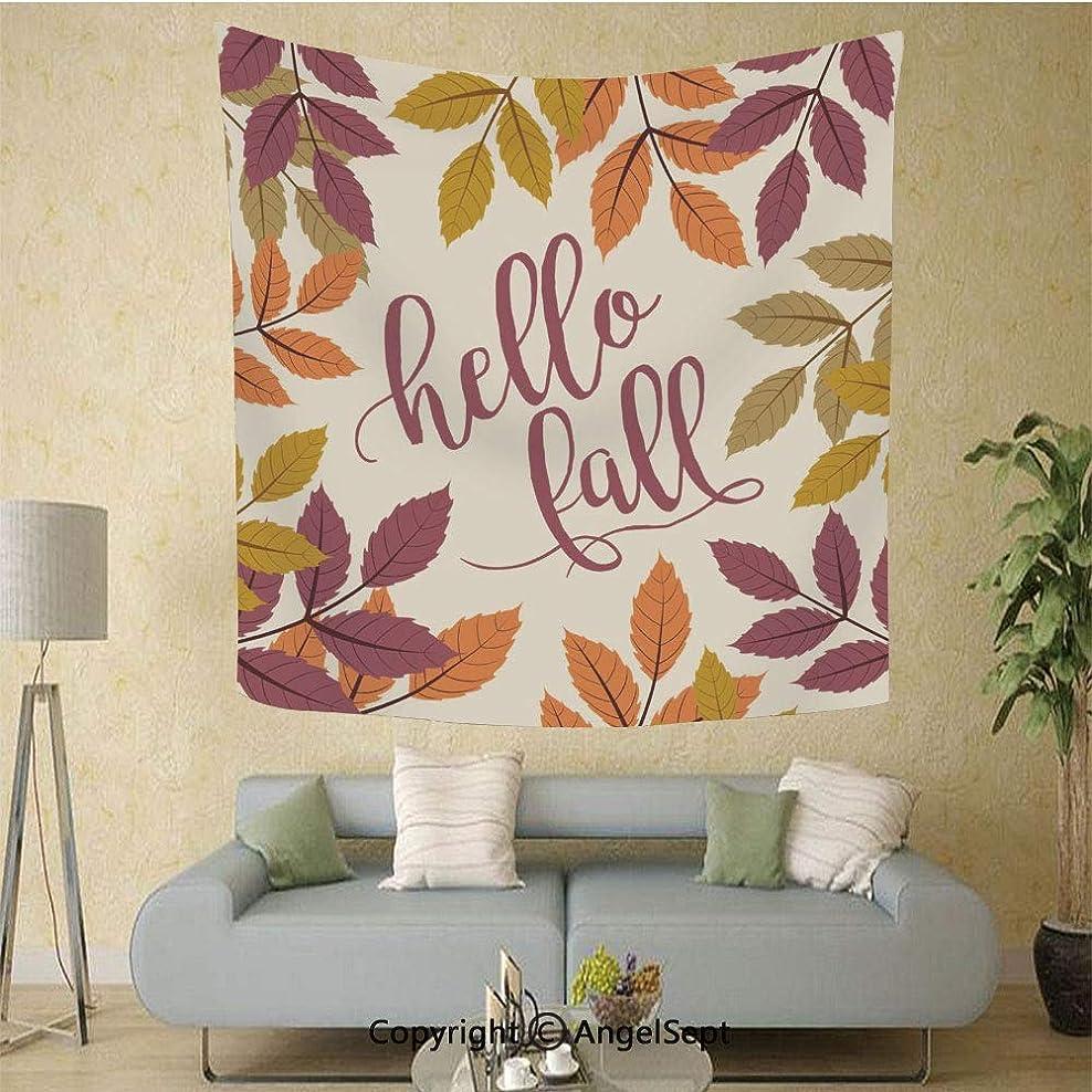 クリープハブブしばしば多図的タペストリー おしゃれ インテリア 壁掛け 多機能 装飾用品 アートプリント おしゃれ 部屋飾り カーテン 布ポスター 間仕切り 125 cm x100 cm秋のクルミの葉、こんにちは秋テキストイラスト秋の背景