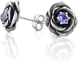 Paz Creations 925 Sterling Silver Rose Stud Earrings For Women | Prongs-Set Natural Tanzanite 0.60 carat December Birthstone | Hypoallergenic For Pierced Ears