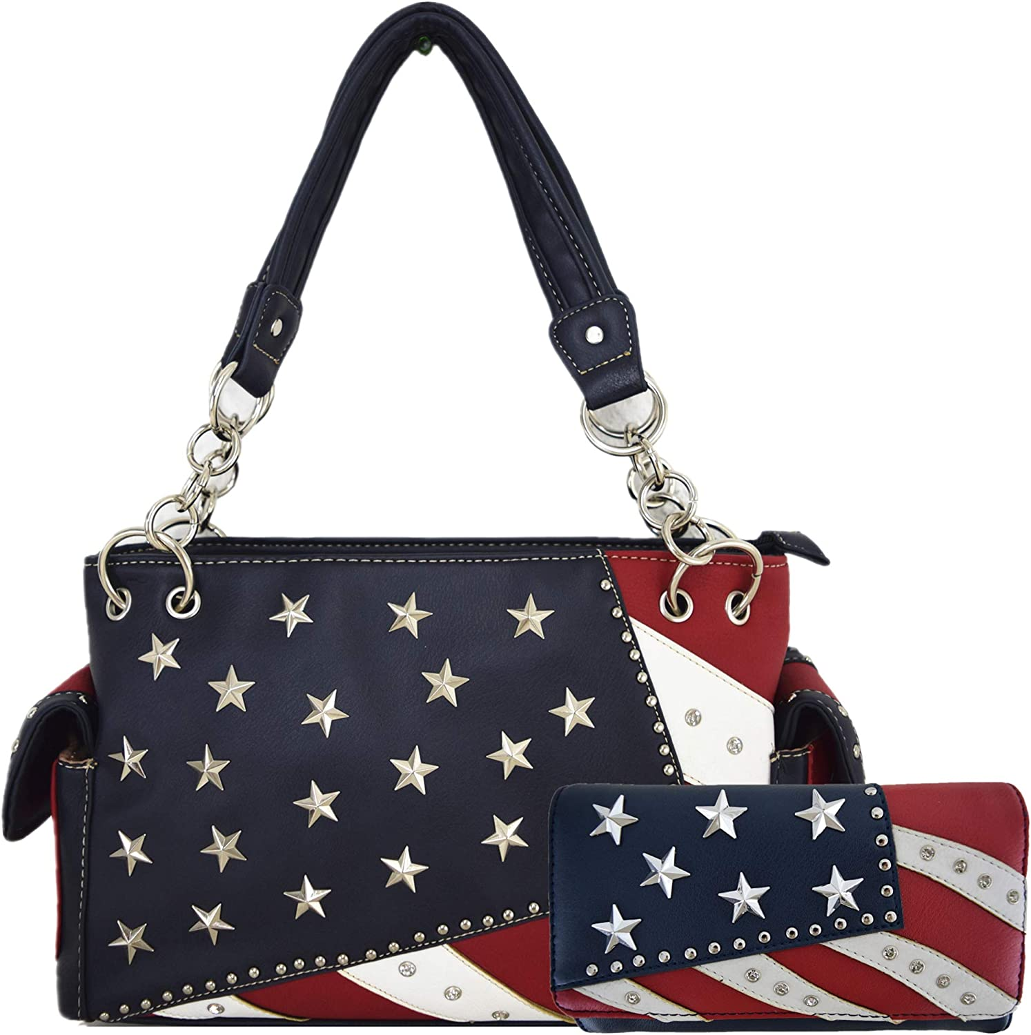 American Flag Stars and Stripes Rhinestone Women Leather Handbag Country Purses Wallet Set Red White bluee