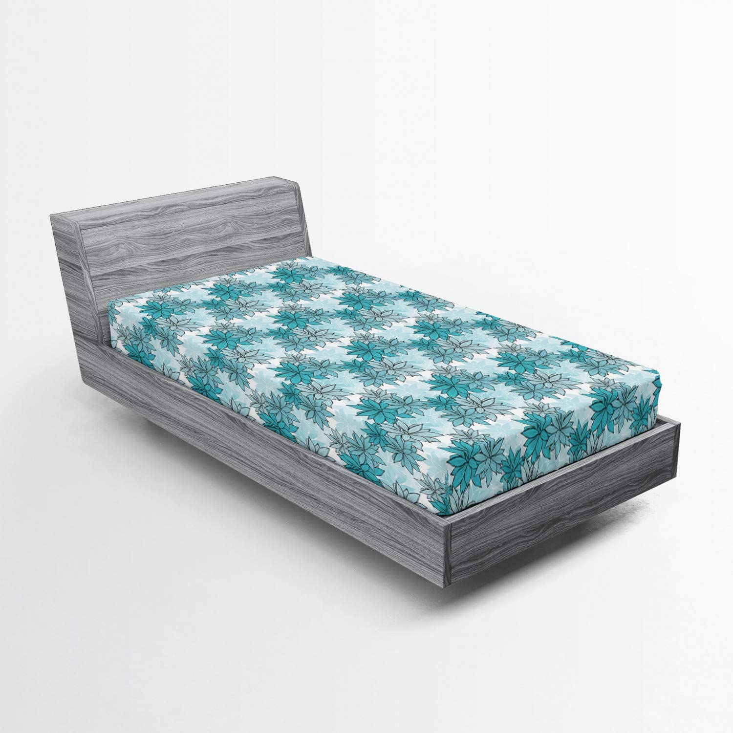 Lunarable Turquoise Fitted Max 76% OFF Sheet Continuous S Floral Hand Selling rankings Drawn