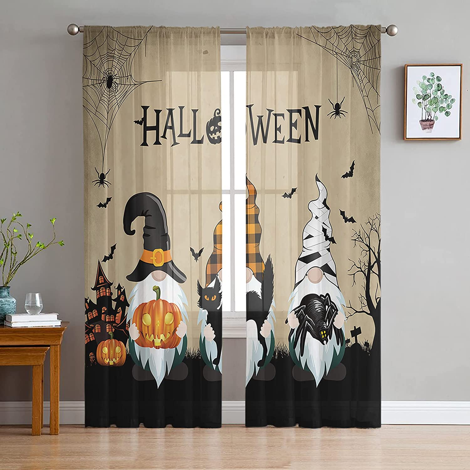 2 Panels Sheer Ranking TOP3 Window Curtains Filtering Light Gnomes Safety and trust Halloween