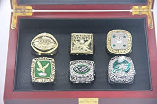 XiaKoMan 2017 Philadelphia 'Eagles' Super Bowl Champions Ring 52 Party Supplies 1948 1949 1960 1980 2004 NFC Conference Championship 6 Rings Set for Men's Boys Kids Youth Women