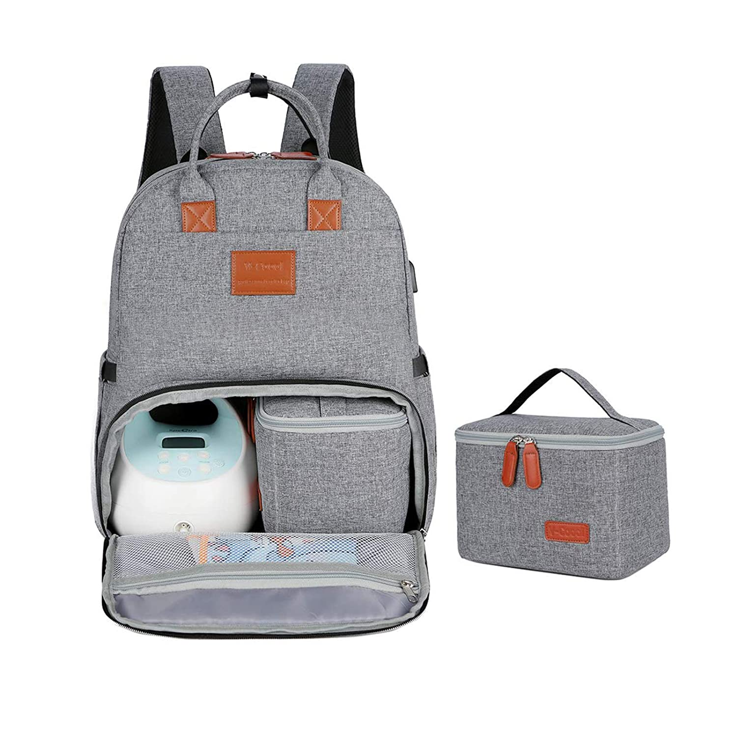 V-COOOL Breast Pump Bag Backpack, Tote Bag with 15.6 Inch Laptop, Fits Most Brands Breast Pumps Like Spectra S1 S2 and Cooler Bag, Pumping Bag for Working Mom(Gray)