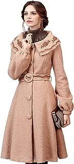 Women's Winter Vintage Embroidered Lapel Belted Wool Blend Dress Coat Beige