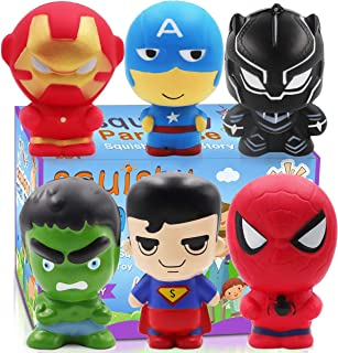 POKONBOY Jumbo Squishies Super Hero - 6 Pack Super Hero Squishy Toys Scented Squishies Pack Party Favors for Boys Stress Relief Toys Halloween Decorations